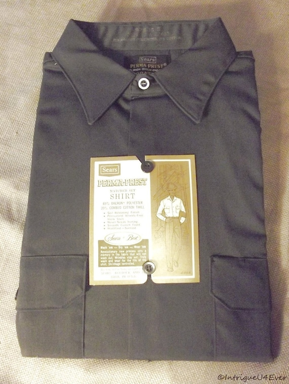 Vintage 60s Mens DEADSTOCK Long Sleeve Button Work Shirt Perma Prest GRAY 16 S Nos Mint