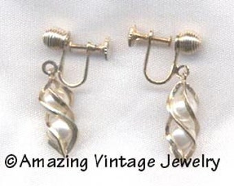 Sarah Coventry TWIRLING PEARLS Earrings - 1962  SALE 6.00