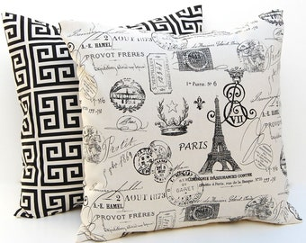Decorative Throw Pillow Covers for Decorative Pillows Cushion Covers Onyx Black and Natural 16 x 16 Paris Script Greek Key