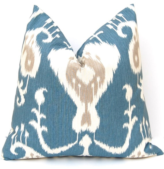 Ikat Pillow Cover - Blue Pillow Cover - Throw Pillow Cover - Decorative Pillow Cover - 20 x 20 - Deep Ocean Blue -  Same Fabric Front Back
