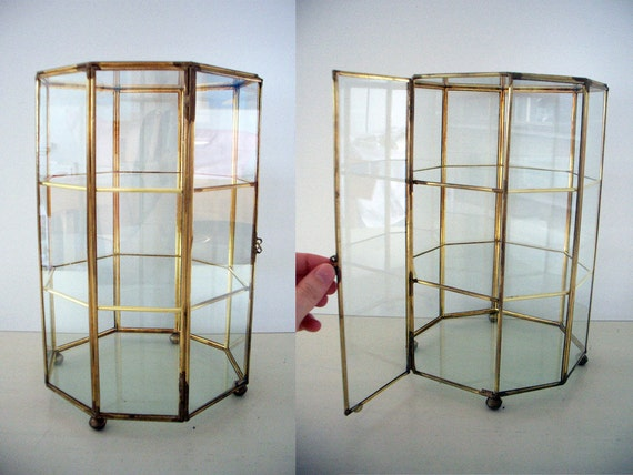 Vintage Table Top Glass Curio Cabinet Display Case
