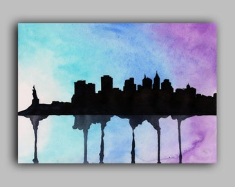 "New York Skyline Watercolour Print 8"" x 11.5"" (A4) - Paint the Moment"