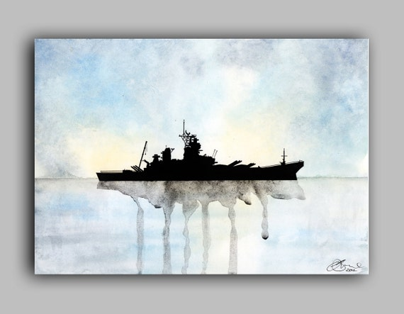 "USS Missouri Watercolour Ships series, Print 5"" x 7"" - Paint the Moment"