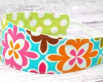 Reversible Fabric Headband- Children Toddler Multicolor Floral and Orange