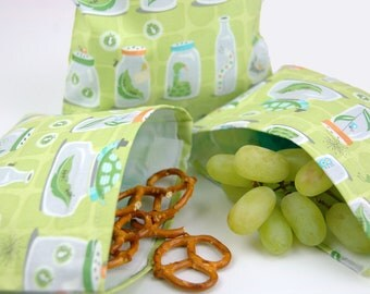 Reusable Sandwich and Snack Sack Kit in Backyard Baby Bug Jars Green by Michael Miller  FREE SHIPPING