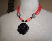 Rose pendant necklace - black and coral