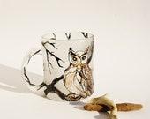 Mug Hand Painted Cup Owl Design Mat Glass OOAK