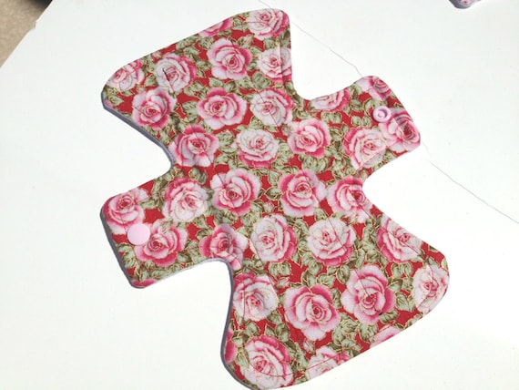 "Heavy Flow 8"" Washable Reusable Cloth Menstrual Pad Roses"