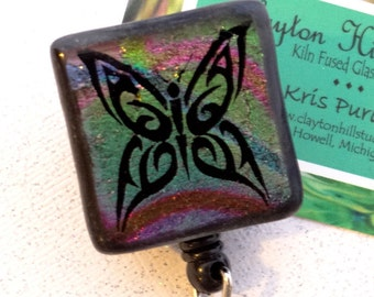 Dichroic Badge Reel - Butterfly