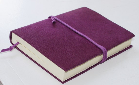 PURPLE Pocket Leather Journal LINED paper Small Diary Jotter Gift for Writer