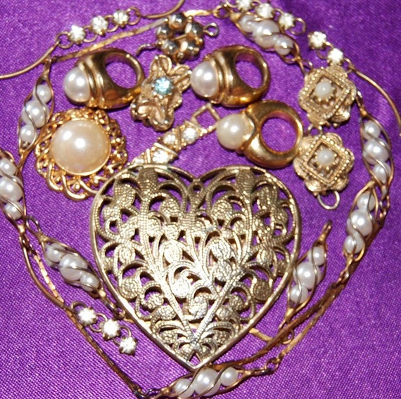 Vintage Destash Lot Jewelry Lot  Rhinestones Shabby Chic Supplies Findings