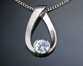 silver necklace - cz pendant - eco-friendly - Argentium silver - artisan jewelry - modern necklace - wedding - 3470