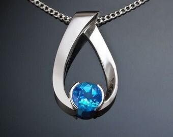 blue topaz necklace, Swiss blue topaz pendant, December birthstone, wedding necklace, gemstone jewelry, for her - 3470