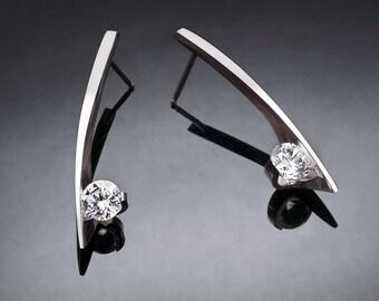 cz earrings, Argentium silver earrings, modern earrings, wedding earrings, Christmas earrings, dangle earrings, cubic zirconia - 2458
