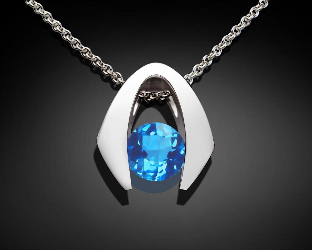 blue topaz necklace december birthstone wedding necklace. Black Bedroom Furniture Sets. Home Design Ideas