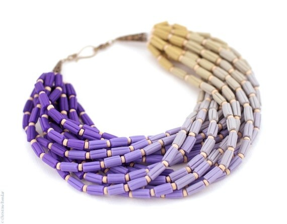 Ombre Necklace - Purple Lilac Gray Ochre Gradient Colors, Ombre Jewelry