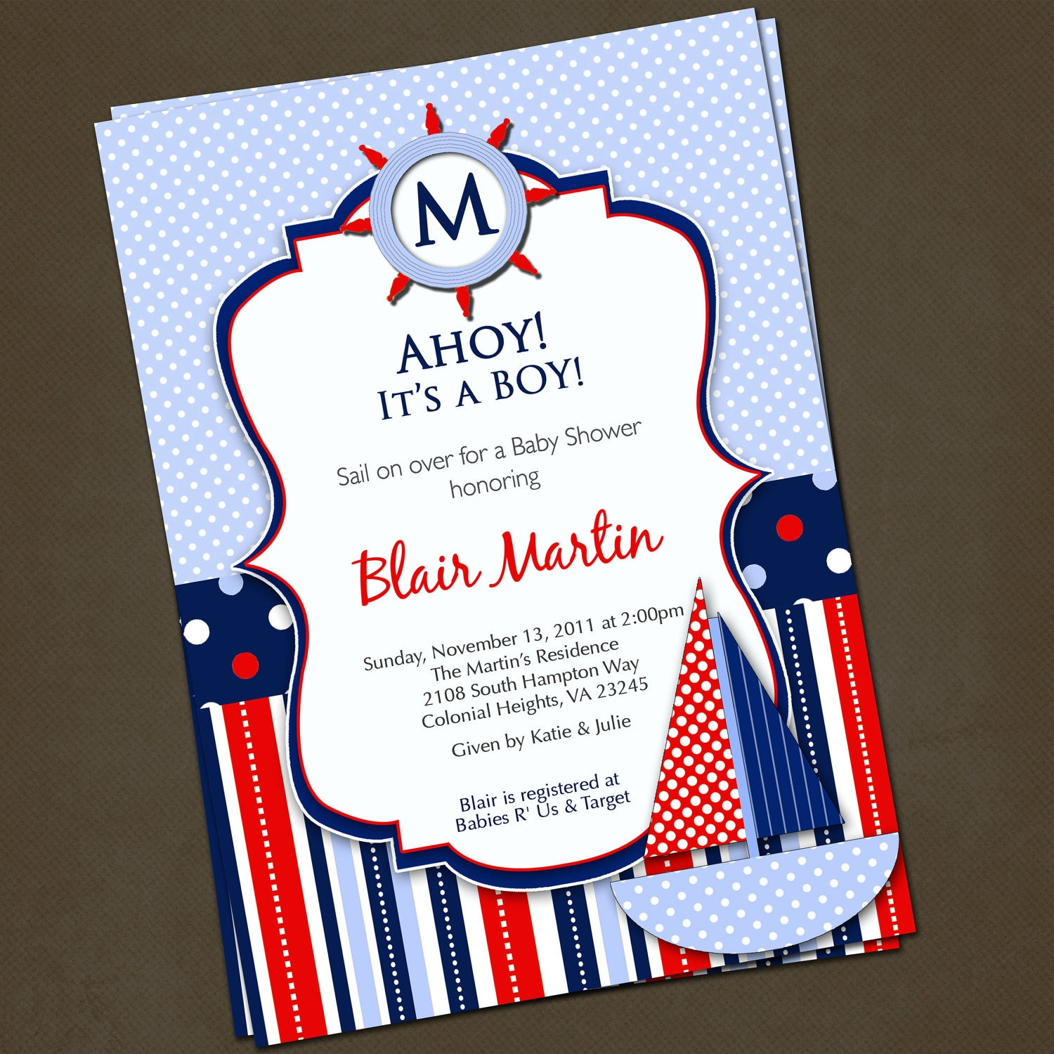 Nautical Sailboat Baby Shower Invitations By Pinkskyprintables. Nautical ...