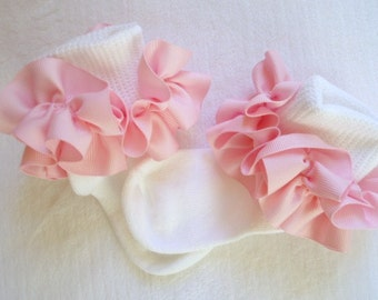 Light Pink Ruffled Ribbon Socks