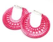 Handmade Earrings, Crocheted Hoops, Silver Plated, Round Dangle Earrings, Pink