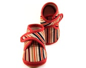 Baby Booties Striped Baby Shoes Newborn Winter Natural Colors Burgundy