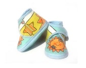 Baby Booties Pale Blue Sun Stars Yellow Orange Baby Shoes Newborn