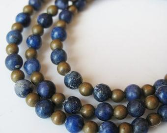 Vintage Blue Lapis Lazuli Sterling Silver Beaded Necklace