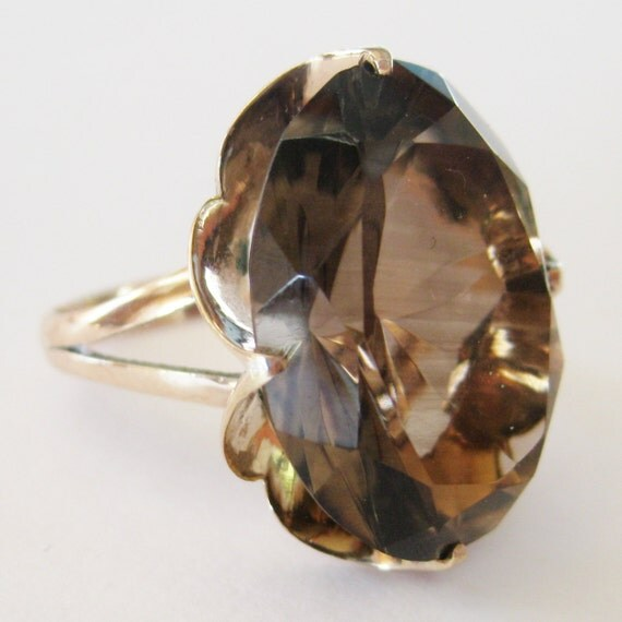 Vintage 50s Fine 14k Solid Gold Filigree Faceted Smokey Topaz Over the Top Cocktail Dinner Ring size 7 1/2