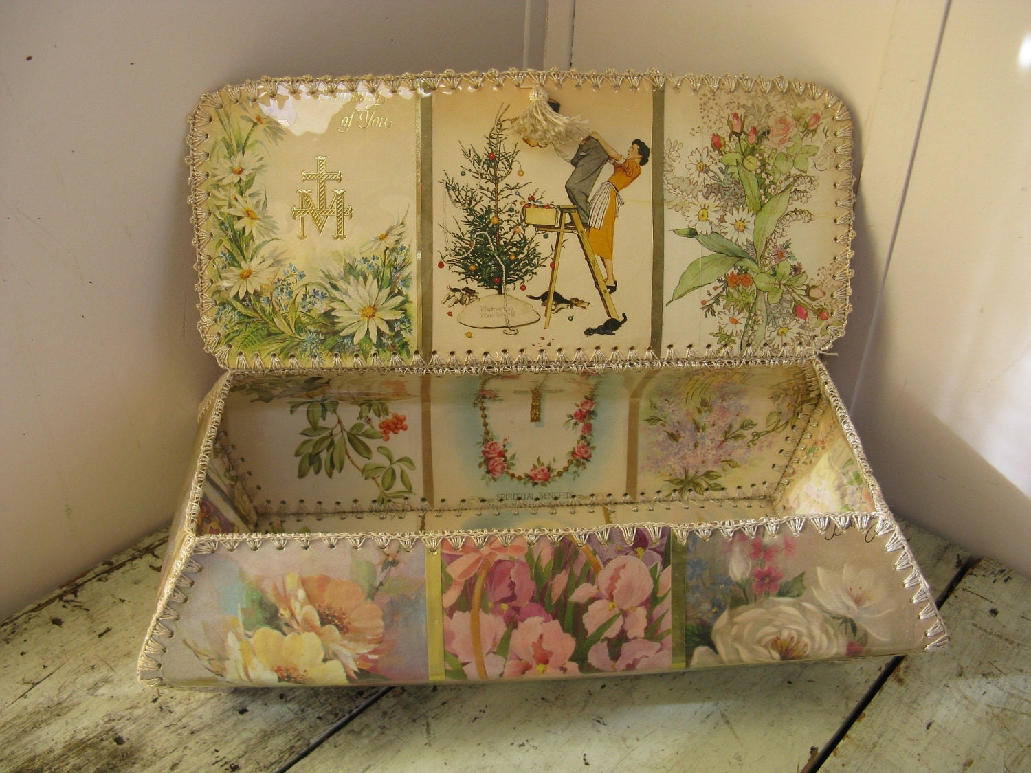 Victorian Style Card Basket Hand Made Vintage Greeting Cards