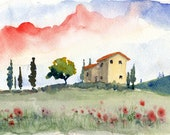 italian watercolor landscape- Tuscan Spring (II)- 5x7 print matted to 8x10