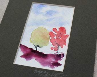 watercolor painting- Burgundy Field-  original painting matted to 5x7