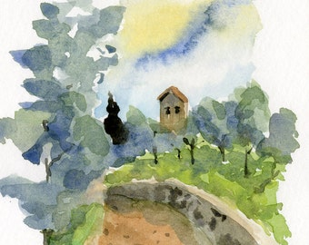 italian landscape painting- Chapel Among Olives- art watercolor print