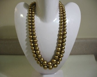 Vintage Double-Strand Necklace, Gold Tone Glass Based Beads