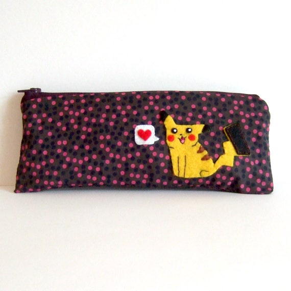 I love you Pikachu Pokemon pencil case / pouch