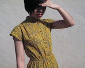 1960s leopard dress/ 60s dress/ mustard yellow blue leopard pattern dress