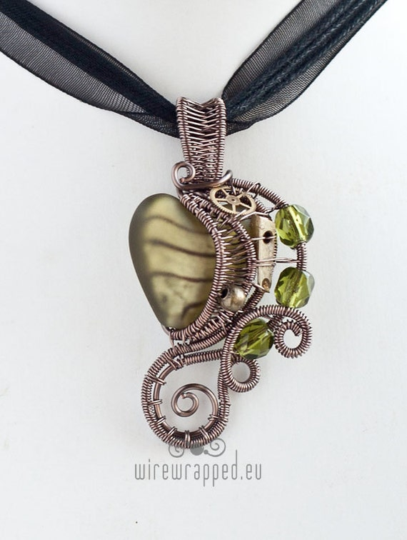 OOAK olive green steampunk heart wire wrapped pendant