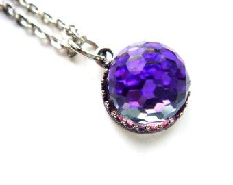 RARE Purple Vintage Swarovski Crystal Ball Necklace