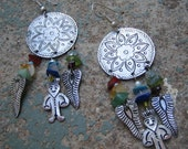 Vintage 1970s Etched Silver Medallion Feathers Indian Glass Beads Polished River Stones Pierced Long Dangle Earrings