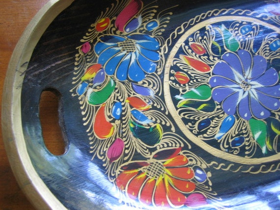 Black Lacquer Hand Painted Tray