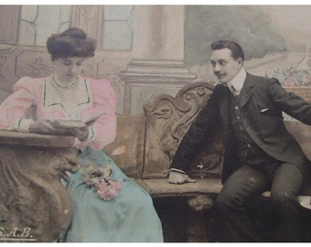 Antique French Postcard - Edwardian Couple 'A Delicate Hand...'