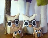 Owl Family of Four - Animal Playset, Customizable Family, Gift for Mom, Made from Re-Purposed and Salvaged Fabrics - Made to Order