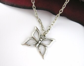 Silver Butterfly Necklace - Silver Butterfly Jewelry Silver Butterfly Pendant Necklace