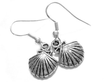 Sterling Silver Seashell Earrings - Seashell Jewelry - Silver Earings - Sterling Silver Nautical Jewelry 176