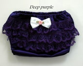 Ready to ship made in the USA silk lace ruffle diaper cover. Any size available. Ruffle Baby Diaper Covers. Bloomers