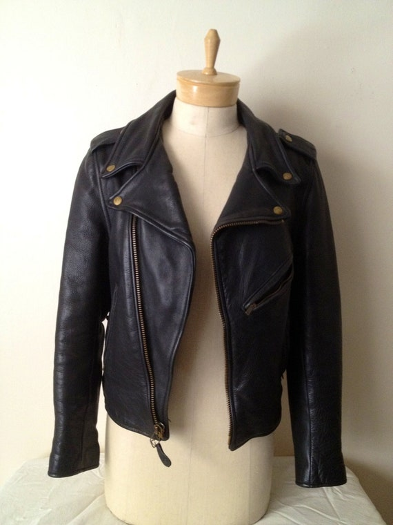 RESERVED for IHARBANS until Monday october 1st 2012 Small/Medium Black Leather Motorcycle Jacket
