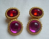 David Dubin Red and Fuchsia Cabochon Earrings