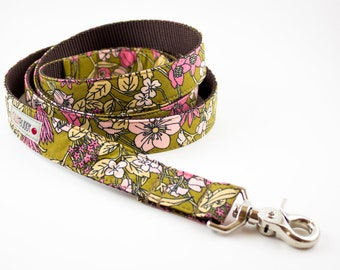 Ochre Floral Organic Dog Leash