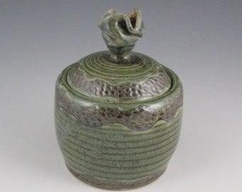 Lidded Jar in Heather Green