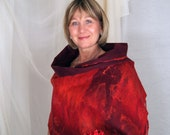 Red  Felted Wool Passion Shawl