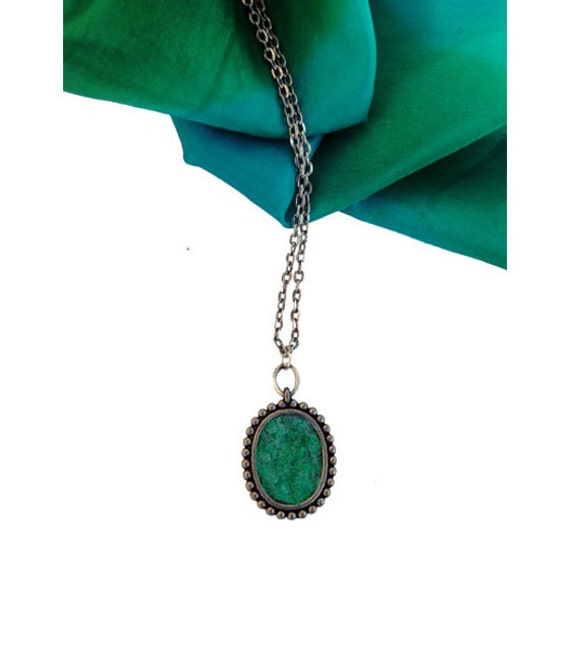 Elena's Felted Jewelry - Green Turquoise Oval Pendant