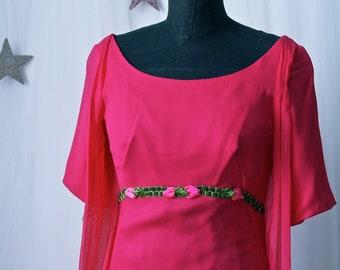 1960's Maxi Dress Fuschia Chiffon 60's Prom Dress Goddess Empire Waist Velvet Floral Trim